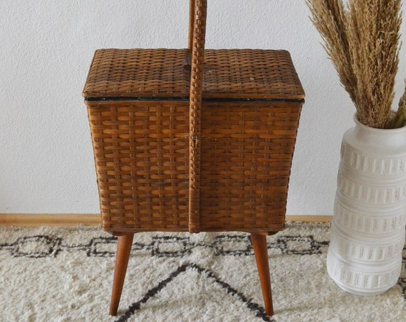 Mid Century sewing box wood & rattan chest of drawers vintage