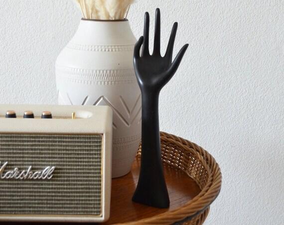 Vintage Ceramic Hand Jewelry stand matte black