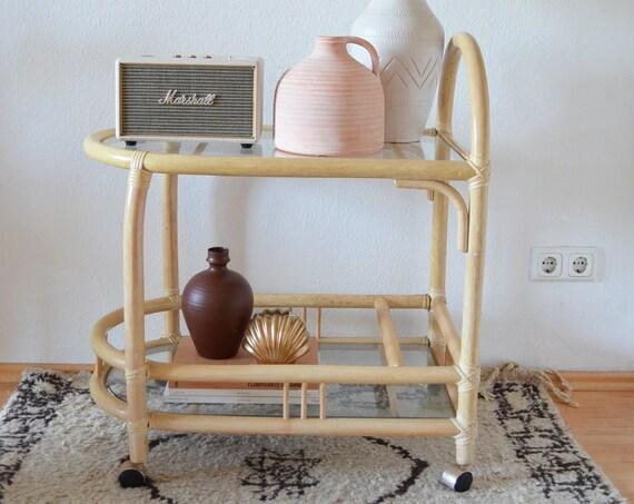 Vintage bamboo bar bamboo bar cart serving trolley side table boho rattan