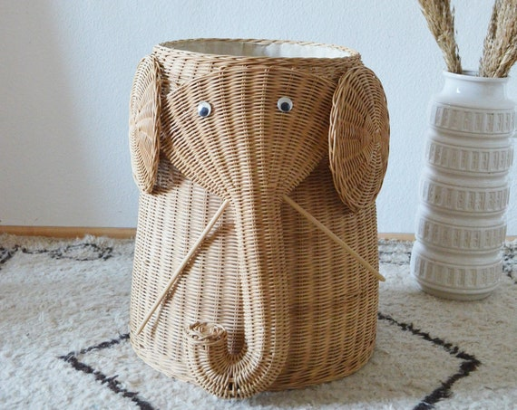 Vintage Rattan Laundry Basket Elephant White Wicker laundry basket Elephant boho