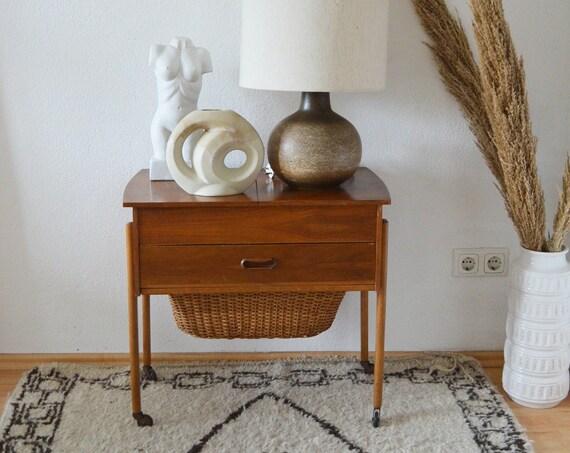 Mid century sewing box with basket teak wood side table bedside table dresser vintage