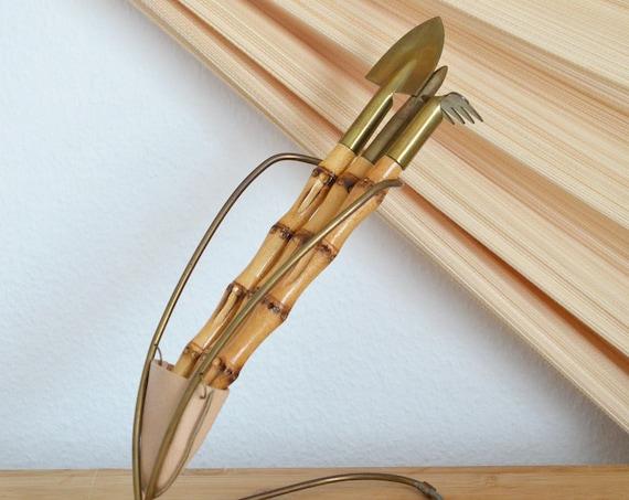 Mid Century Gardener Set made of bamboo & brass, shovel, spade, rake