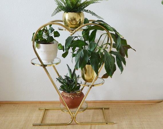 Vintage heart plant stand gold brass heart plant stand brass
