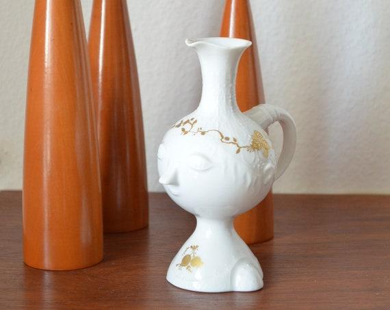 Vintage Rosenthal Vase Face Romance Björn Wiinblad White Gold Kanne Kings