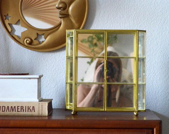 Mirrored brass jewelry cabinet set box schuck casket gold vintage