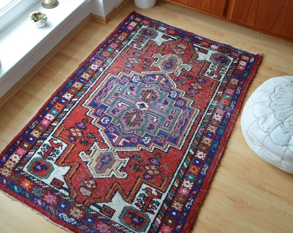 Vintage Rug Berber Rug Oriental dusty pink blue 150 x 100 cm Afghan Nomadic Thick Moroccan Taimani Baluch Wool Carpet