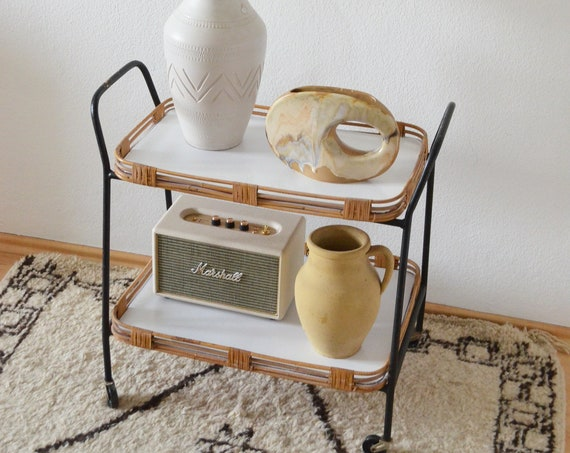Vintage Rattan Bamboo Bartrolley Mid century bar cart white black tea trolley serving trolley side table table 1950s