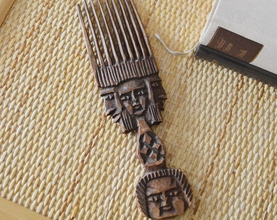 Vintage African Wood - Comb Hand Carved Face Face Hair Comb