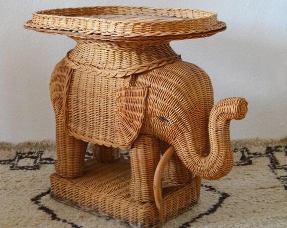 Vintage Rattan Stool side table Elephant boho Tablet Table Wicker side Tray table elephant