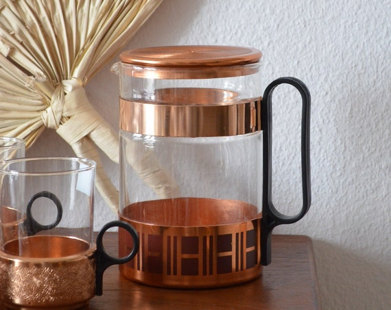 Vintage coffee tea pot glass copper retro mid century