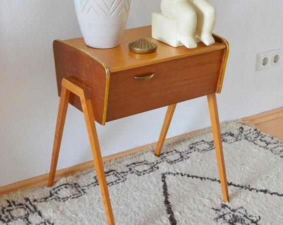 Mid Century brass sewing box sewing box night cabinet chest dresser teak brass brass