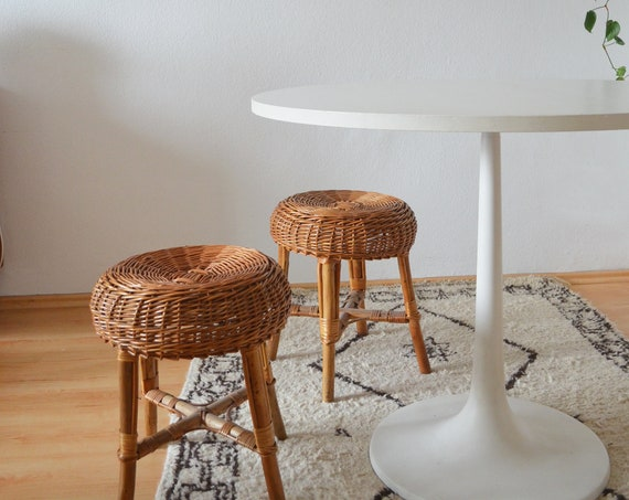 Vintage rattan stool boho round 1960's wicker stool chair