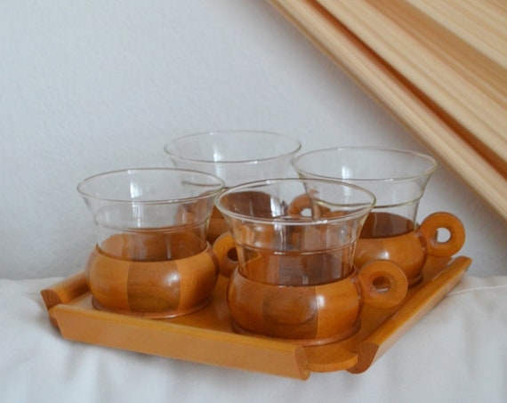 Set of 4 vintage wooden glasses with tray, drinking glasses, tea glasses, glasses cups mug boho home décor