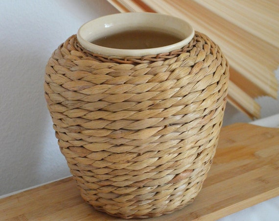 Vintage boho vase flower pot wood brown rattan bohemian clay handmade