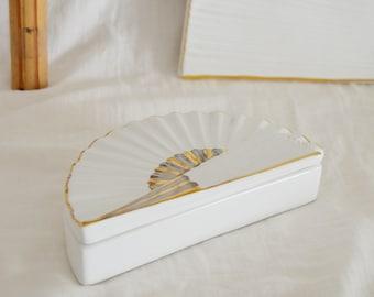 Vintage ceramic white gold casket fan fan can boho