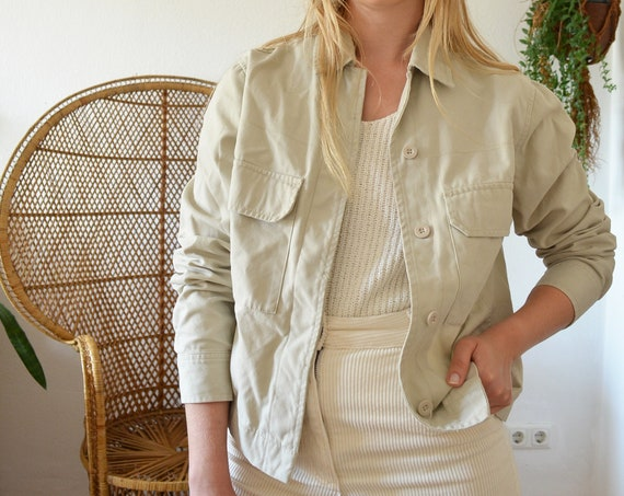 Vintage Cargo Jeans Jacket Parka cream beige Size M