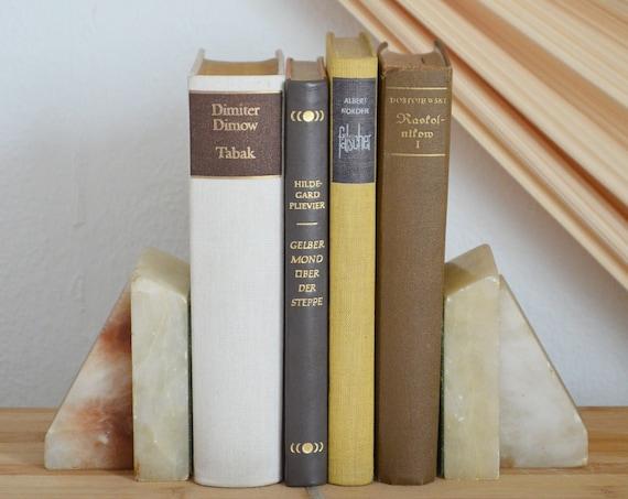 Vintage Onyx Bookends Set Gemstone Home Decor