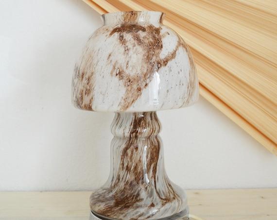 Murano glass lamp table lamp mushroom boheme brown white silver