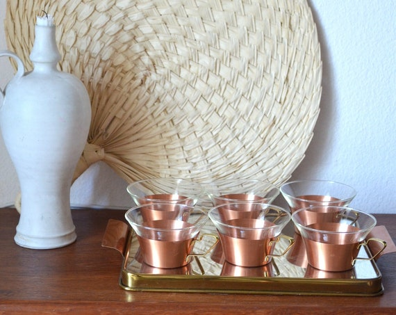 Mid century set tea glasses copper & brass with mirrored tray gold glass brass tea glasses