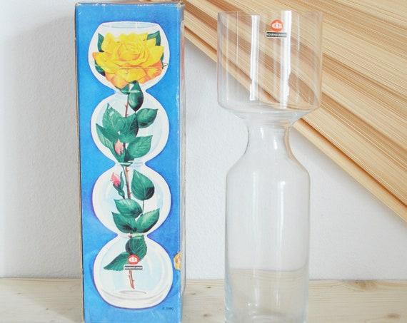 Vintage IG Ingrid Glass Rose Bar Vase with Original Packaging 34 cm