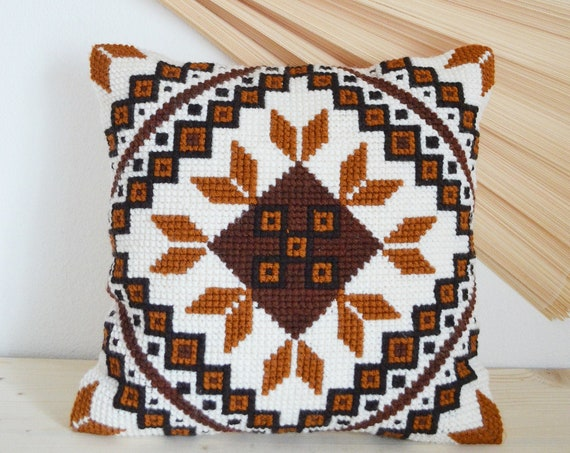 Vintage knitted folklore pillow case boho bohemian Pillow Pillow Case handmade