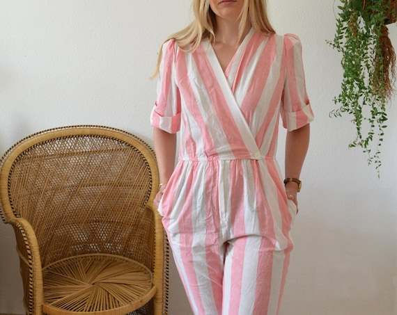 Vintage Clothing - Size S / 1980s One-Piece Jumpsuit White / Pink Striped MADE IN USA