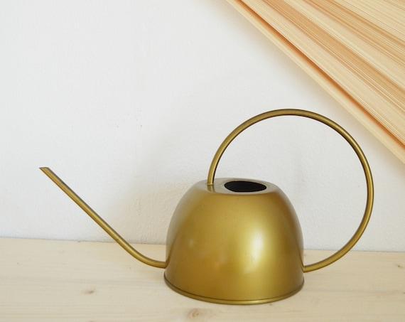 Watering can vintage gold metal