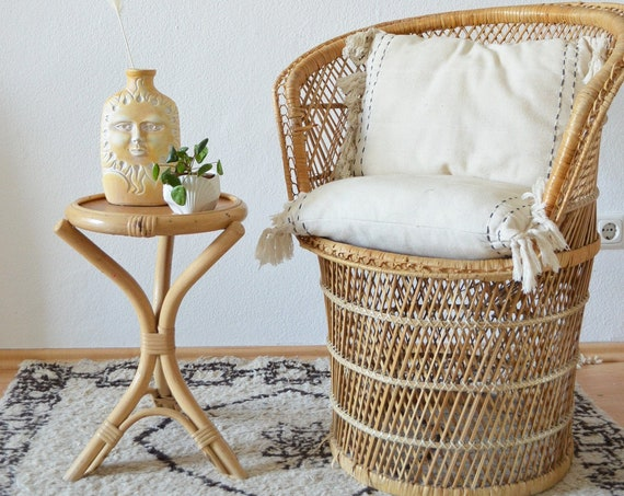 Vintage Rattan bamboo stool side table boho bamboo stool side table round