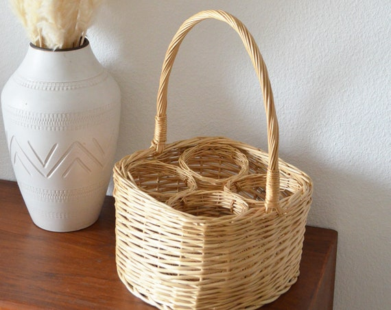 Vintage rattan bottle holder basket basket 60s
