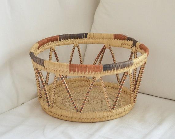Vintage rattan basket round rust red, brown, natural sisal raffia basket
