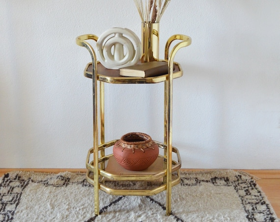 Mid century barcar gold messing bar cart brass hexagon tray tabletable tray side table vintage