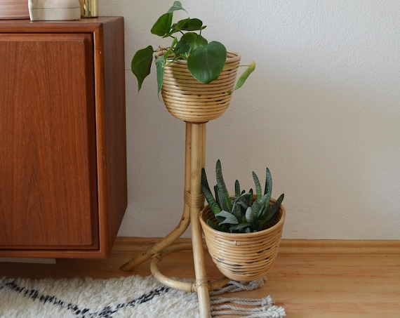 Vintage bamboo plant stand flower stand plant stand bamboo round circle boho