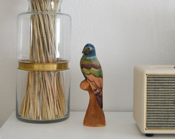 Vintage balsa wood bird green blue boho parrot hand painted