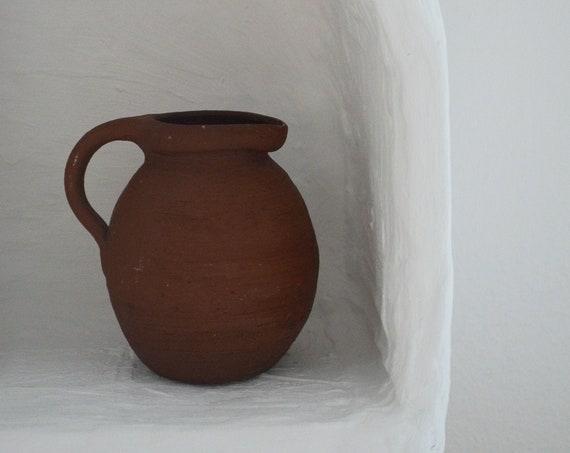 Vintage jug ceramic vase jug 1960s clay brown home décor mid century danish design studio pottery