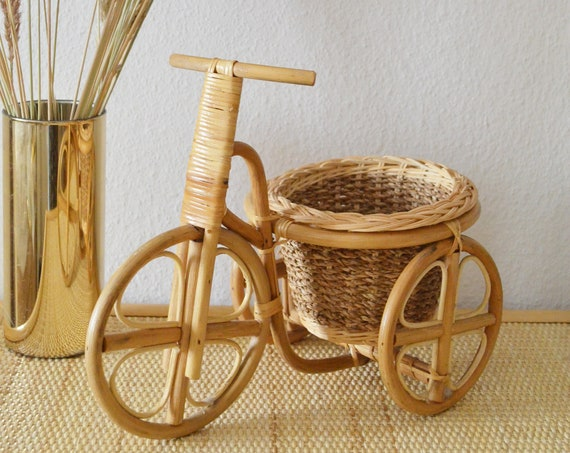 Vintage plant stand bamboo bike boho flower stand Plant stand wicker bike