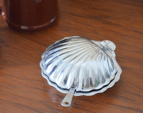 Vintage silver casket shell sugar can shell can boho caviar