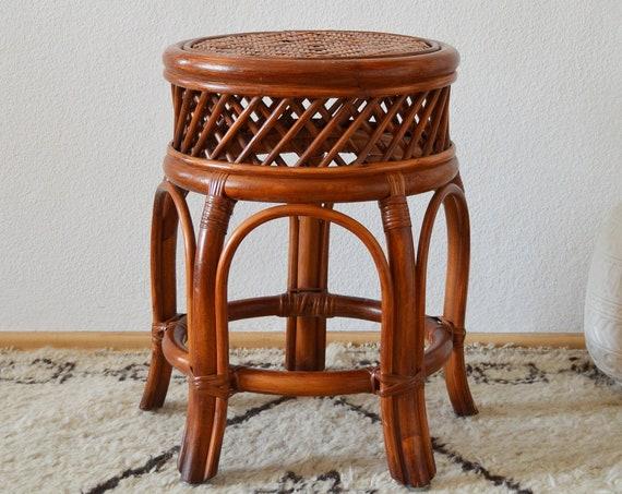 Vintage rattan bamboo stool side table boho bamboo stool side table round