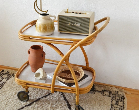 Vintage bamboo bar trolley bamboo bar cart serving trolley newspaper stand side table boho rattan