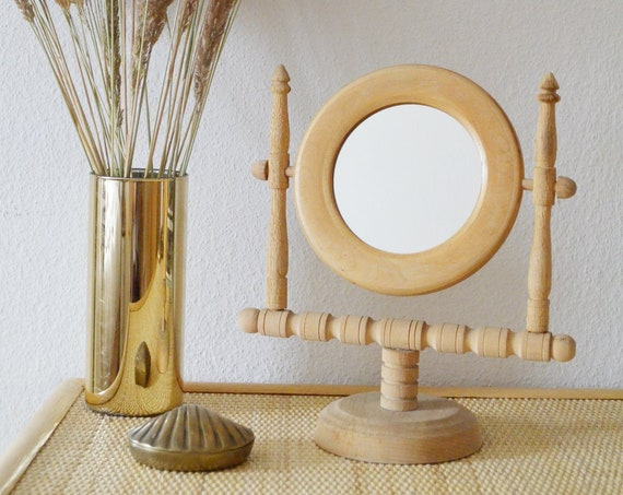 Table Mirror Vintage Mirror Wood Makeup Mirror