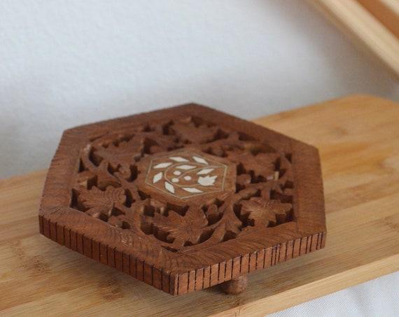 Bohemian pot coasters coasters vintage wood carved boho