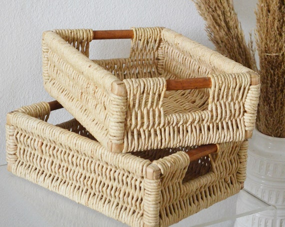 Vintage rattan basket with wooden handle wicker basket