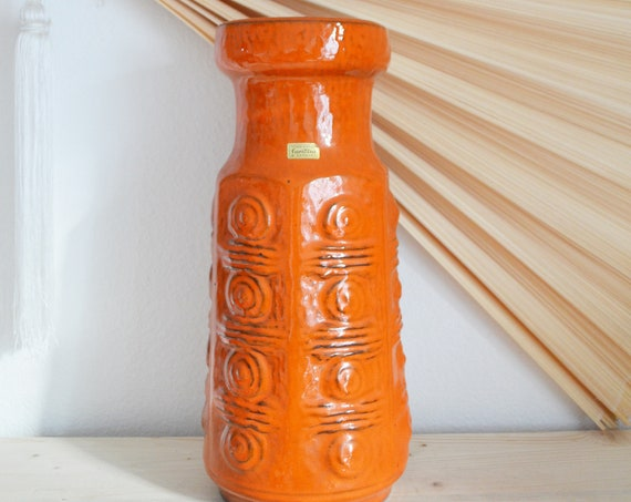 Mid century floor vase orange Scheurich vase 1950 West Germany
