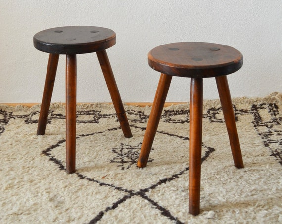 Set of 2 Mid Century Stool Stool Dark Wood Tripod stool dark wood