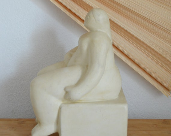 Mid century ceramic female figurine 1970s white