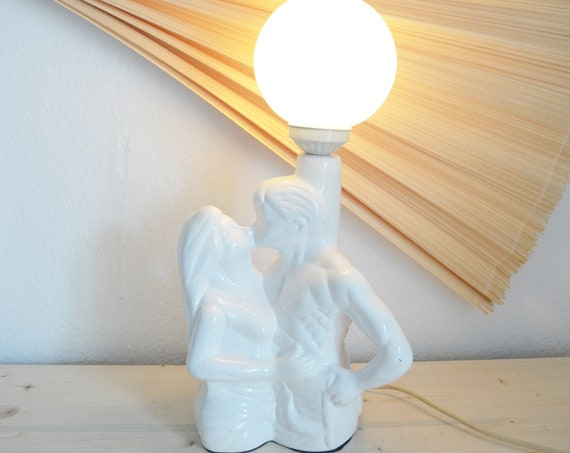 Vintage table lamp in ceramic, love couple, white, 80s