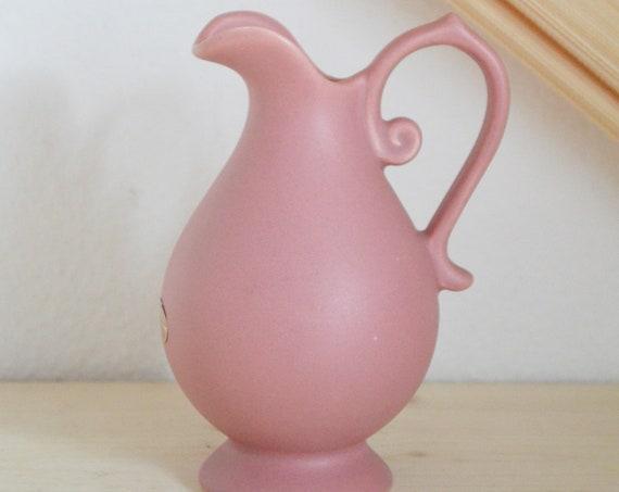 Vintage West Germany clay jug vase with handle pink pink boho