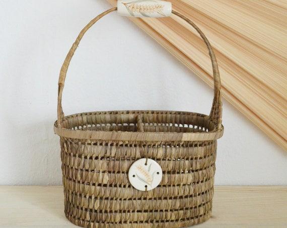 Vintage rattan bottle holder basket basket 90s