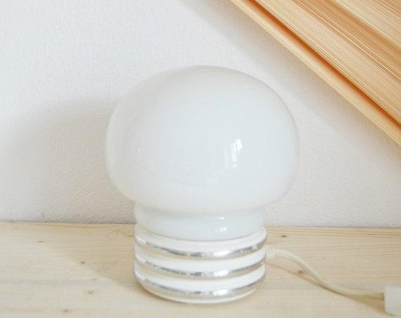 70s glass lamp table lamp mushroom mushroom lamp white silver