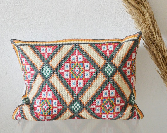 Vintage hand stitched folklore pillow case boho bohemian Pillow Pillow Case handmade
