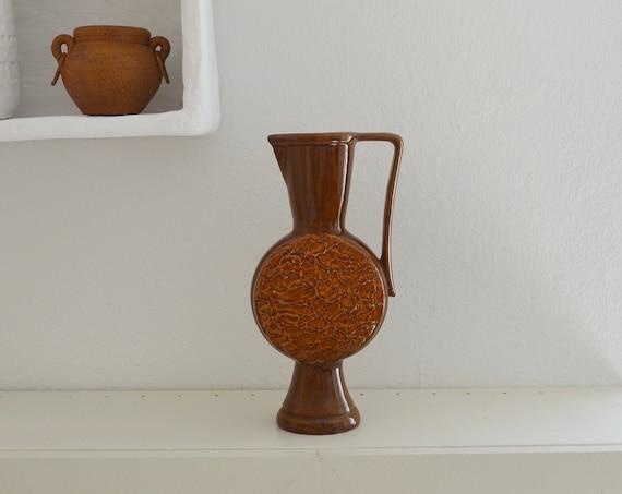 Vintage pitcher vase mustard brown boho West Germany mustard yellow